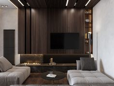 Get onboard with the wood slat wall trend with this luxurious home interior; featuring wood slat dividing walls, wall panel design and wood ceiling ideas. Wall Panel Design, Tv Wall Design, Apartment Interior, Room Interior, Tv Feature Wall, Lounge Bar, Wood Slat Wall, Luxury Interior, Interior Design
