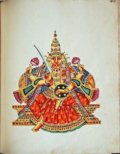 Gouache painting on paper, part of an album of seventy paintings of Indian deities.  A gold-complexioned goddess sits in lalitasana on a throne. Her two upper hands carry lotus flowers while her lower right brandishes a sword and her lower left rests on a buckler. From her shoulders hangs an open-ended garland.