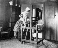 "Wallace Nutting Library image of a rag rug weaver.  This image was in a 1915 sales catalog...neat image, but clothes are not correct for the period as they were probably trying to ""create"" another era..."