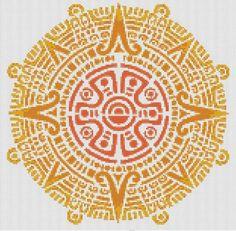Aztec Sun Mandala pdf cross stitch chart / pattern instant download