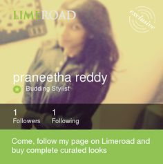 I am a Budding Stylist at LimeRoad. Check out my gorgeous looks now https://www.limeroad.com/user/563f2eb5f80c24044295f5dc?utm_source=00cbe8cb26&utm_medium=android