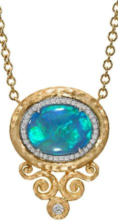 """Lightning Ridge Black Opal Diamond Arabesque Frame Necklace. One of a Kind, Handcrafted Arabesque Frame Necklace in hand-crushed matte 18k yellow gold with a 4.55 carat Lightning Ridge black opal and 0.26 carat diamond set in an 18k white gold bezel. Incredible color-play with flashes of vibrant neon green, violet and blue. 17"""". Pamela Froman, United States, 2014"""