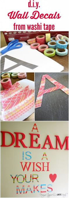A detailed tutorial for how to create your own washi tape wall decals! One of the best washi tape ideas out there - you will love this! Washi Tape Wall, Washi Tape Crafts, Masking Tape, Diy Crafts, Duct Tape, Tapas, Kids Room Wall Decals, Diy For Teens, Diy Wall