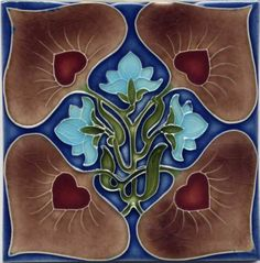 ¤ Art Nouveau decorative tile made by the Porteous Family of New Zealand