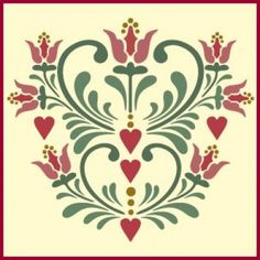 Our Rosemaling Pattern 15 stencil features stylized flowers, hearts, and flourishes - from The Artful Stencil Bird Stencil, Stencil Painting, Tole Painting, Fabric Painting, Stencil Patterns, Stencil Designs, Pattern Art, Folk Art Flowers, Flower Art