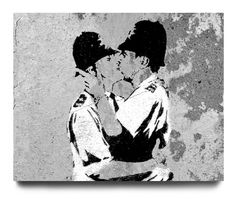 Banksy: The ironically titled 'Bent Coppers' piece, being of course a play on words. The fact that it was considered so provocative at the time it was first seen is, unfortunately, a sad indictment of the attitudes of the time.