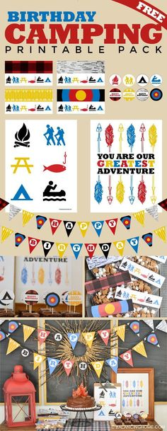 camping birthday printable pack. A fun, affordable way of decorating for a party. Some super cute art that would rock a kid's room or nursery too!