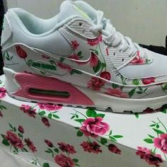 Floral Air Max 90 Pink and green floral air max 90s. Never worn, New with tags/box. Nike Shoes Sneakers