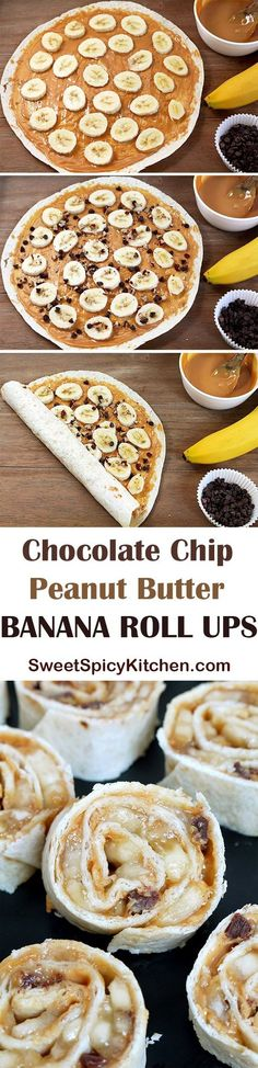Chocolate Chip Peanut Butter Banana Roll Ups Looking for a delicious snack for the whole family, quick and easy to prepare? Chocolate Chip Peanut Butter Banana Roll Ups is a recipe for a perfectly tasty and healthy snack ♥ Lunch Snacks, Yummy Snacks, Healthy Snacks For Kids, Yummy Treats, Yummy Food, Lunches, Healthy Food, Banana Roll, Picky Eaters Kids