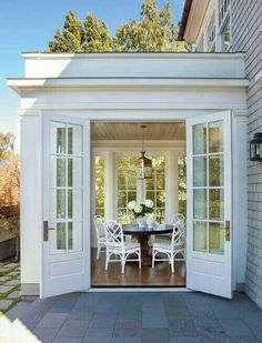 Sunroom with French Doors. Lovely Sunroom with French Doors. Future House, My House, Sunroom Addition, Family Room Addition, Coastal Homes, Coastal Decor, My Dream Home, Beautiful Homes, Beautiful Images