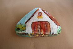 Hey, I found this really awesome Etsy listing at https://www.etsy.com/listing/188032723/white-barn-hand-painted-on-a-rock