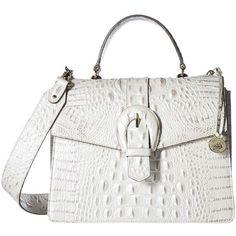 Brahmin Gabriella (Toasted Macaroon) Handbags ($345) ❤ liked on Polyvore featuring bags, handbags, top handle purse, leather hand bags, brahmin handbags, white leather purse and leather satchel handbags