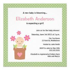 Cute Spring Baby Shower Invitation - Girl.  $1.95