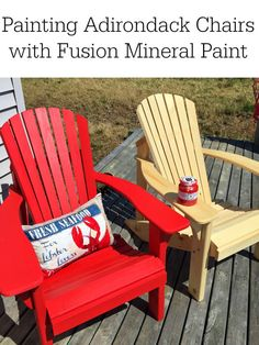 painting our Adirondacks chairs  with Fusion Mineral Paint