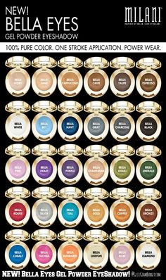 NEW Milani Cosmetics Bella Eyes Gel Powder Eyeshadow- full color range. Bought 2 today, they're a bargain great quality! Love Makeup, Beauty Makeup, Hair Beauty, Makeup Swatches, Drugstore Makeup, Milani Cosmetics, Makeup Obsession, Eye Gel, Makeup Techniques