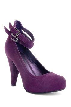 purple pumps with ankle straps