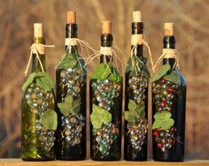 wine bottle craft. these are so cute!