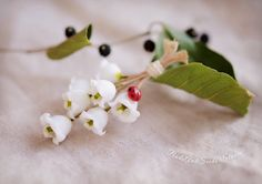 Lily-of-the-valley necklace - nature jewelry - plant jewelry - rustic floral pendant - bridesmaid - wedding jewelry - gift for her