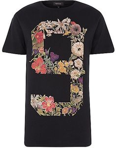 River Island Black No9 Floral Print T Shirt Estampas Florais ff87e4a837c52