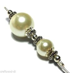 """Ivory Glass Hat Pin Vintage Antique Tibetan Silver Style - 5"""" & Pin Protector 