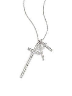 LJ Cross - Diamond & 18K White Gold Cross Pendant Necklace