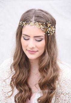 Gold Wedding Hair Vine Brass Leaf and Crystal by BeSomethingNew