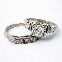 Platinum Vintage Retro 1940s Diamond Engagement Wedding Ring Band Set ~ Absolutely Love this set!