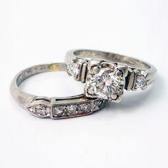Reminds me of GrandmaR's. Platinum Vintage Retro 1940s Diamond Engagement Wedding Ring Band Set ~ Absolutely Love this set!