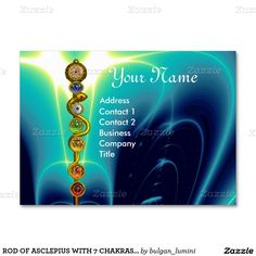 Rod Of Asclepius With 7 Chakras Spiritual Energy Large Business Cards Pack 100