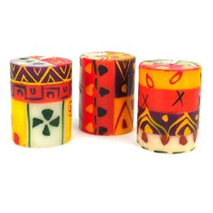 Set of Three Boxed Hand-Painted Candles - Indaeuko