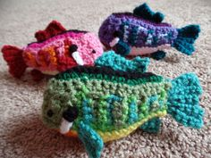 Bluegill Fish Plush Crochet Greengill by BuggabeeBaubles on Etsy - I like the purple one best, of course. Could make a whole aquarium of plush fishies!!!