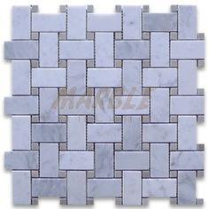 Carrara Marble Tile Italian White Carrera 1x2 Basketweave Mosaic w/ Gray Dots Polished