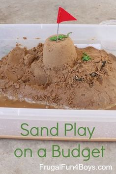 Sand play on a budget - skip the sand box and do an under the bed box!