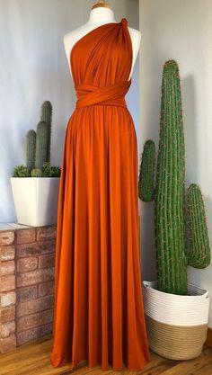 Burnt Orange Bridesmaid Dresses, Orange Wedding Dresses, Burnt Orange Weddings, Bridesmaids, Country Bridesmaid Dresses, Infinity Dress Bridesmaid, Burnt Orange Dress, Bridesmaid Gowns, Multi Wrap Dress