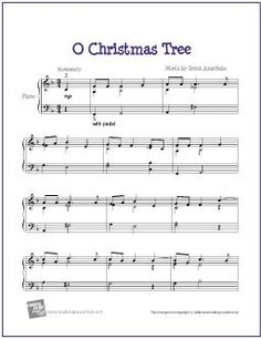 O Christmas Tree | Free Sheet Music for Piano (Charlie Brown Christmas Special) - http://makingmusicfun.net/htm/f_printit_free_printable_sheet_music/o-christmas-tree-piano-solo.htm