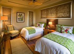 Love the details.... Twin beds can come in handy Greeen print throws protect the white bedding and add color too.