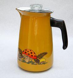 Vintage Stove Top Enamel Coffee Perculator Mustard Orange and Brown With Mushrooms
