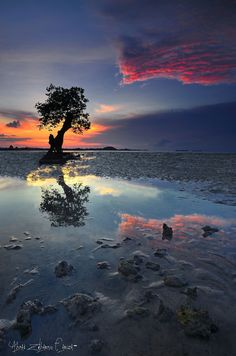Beautiful magic hour reflection...  Photograph ::. Coloring Sea .:: by Ahmad Zulharmin Fariza on 500px