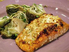 Herbed Goat Cheese & Pine Nut Crusted Salmon w/ Grilled Baby Artichokes