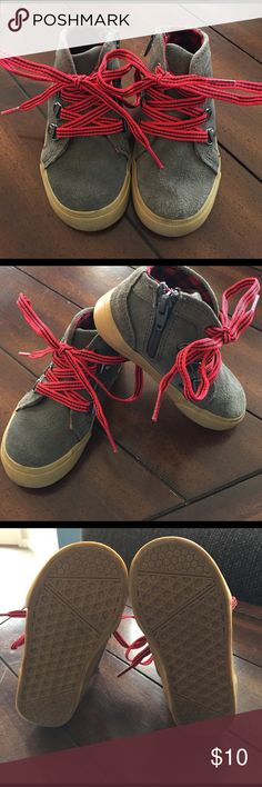 .Cherokee. Toddler boys gray boots w/red laces Toddler boys Cherokee boots, size 8. Gray boots with red striped laces and tan soles. Excellent used condition, only worn a handful of times. Leather uppers. These seem to run a little small, so they might be good for a little guy who mostly fits into 7's. Some minor scuffs on side of soles and some minor spots on outside of right boot. Cherokee Shoes Boots