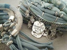 Dreaming of the Sea Amazonite Bracelet Beach Bracelet Seafoam | Etsy Beach Bracelets, Bohemian Bracelets, Boho Jewelry, Lino Natural, Natural Linen, Gypsy Bracelet, Bracelet Set, Koi, Bracelet Turquoise