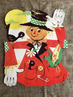 NOS-Vintage-Eureka-DieCut-Cardboard-Halloween-Scarecrow-Black-Birds-Decoration