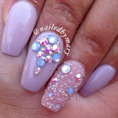 Coffin ballerina shape Swarvoski Crystal pixie dust acrylic nails