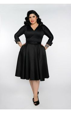 Horror Housewife Dress in Black Sateen - Pinup Girl Clothing