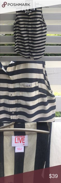 Lacoste Live sleeveless blouse Cream and blue striped Lacoste blouse: size XL but fits more like a large. Great condition Lacoste Tops Blouses