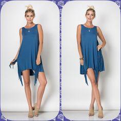 Sale Sleeveless Tunic Dress W Fringe