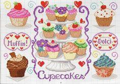 Cross stitch cupcakes