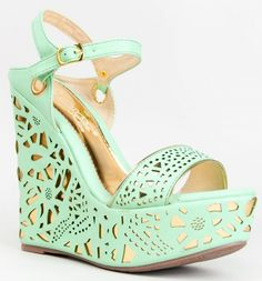 DbDK Fashion Design Mint Green Gold Metallic Cut Out Platform Wedge Heel Slingback Sandals: Wedges