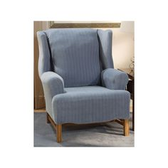 Sure Fit Pin-Striped Wing Chair Slipcover, Blue