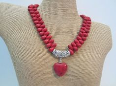 Red Magnesite teardrop necklace with heart pendant by yasmi65, $30.00